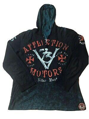 Mens Affliction Motors Live Fast Long Sleeve Henley Graphic Hooded Shirt XXL 2XL