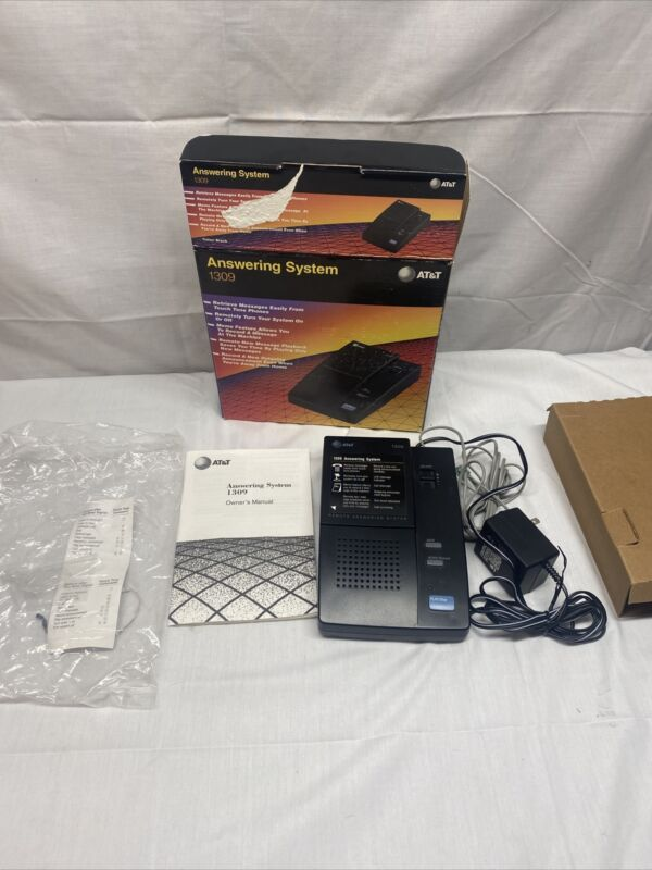 AT&T Remote Answer System 1309 Answer Machine With Manual, Box, And Unused Tape.