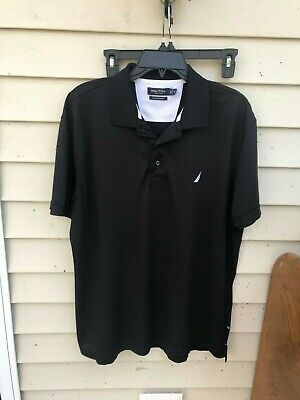 Nautica Mens Shirt Sz XL black Short Sleeve Polo A Bit Trimmer Fit