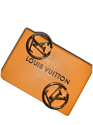 NEW LOUIS VUITTON LOUISE GOLD LOGO HOOP EARRINGS AUTHENTIC WITH BOX