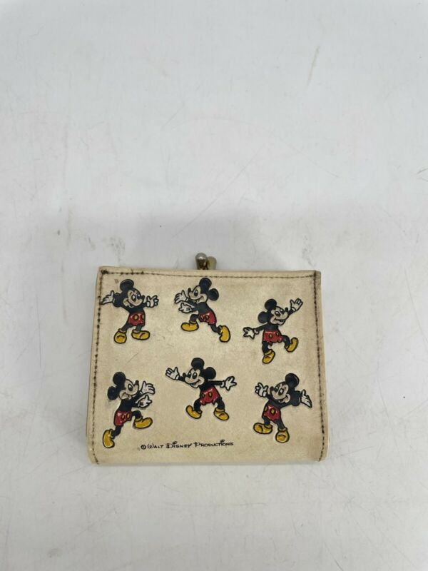 Vintage 1970s Walt Disney Productions Mickey Mouse Clasp Wallet Coin Pouch RARE
