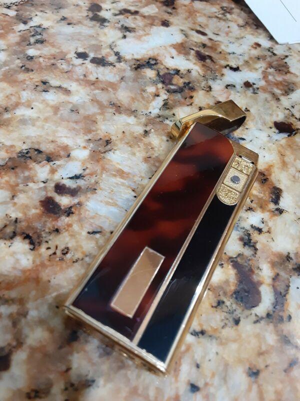Vintage Colibri Touch  Sensor Butane Lighter Gold Tone Tourtise shell look