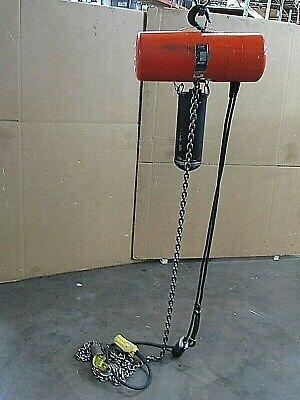 Cm Columbus Mckinnon Electric Chain Hoist Model J 1000lbs 12 Ton 180 Drop