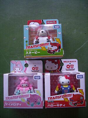 TakaraTomy Transformers Choro Q Snoopy Hello Kitty My Melody MISB set of 3