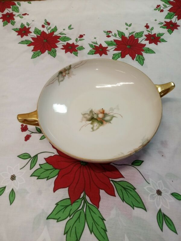 Antique Hand Painted Nippon Serving Bowl Gold Handles Leaves berry Signed 1919