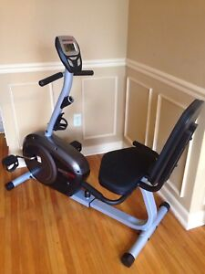 Recumbent exercise bike, large digital display, comfy seat