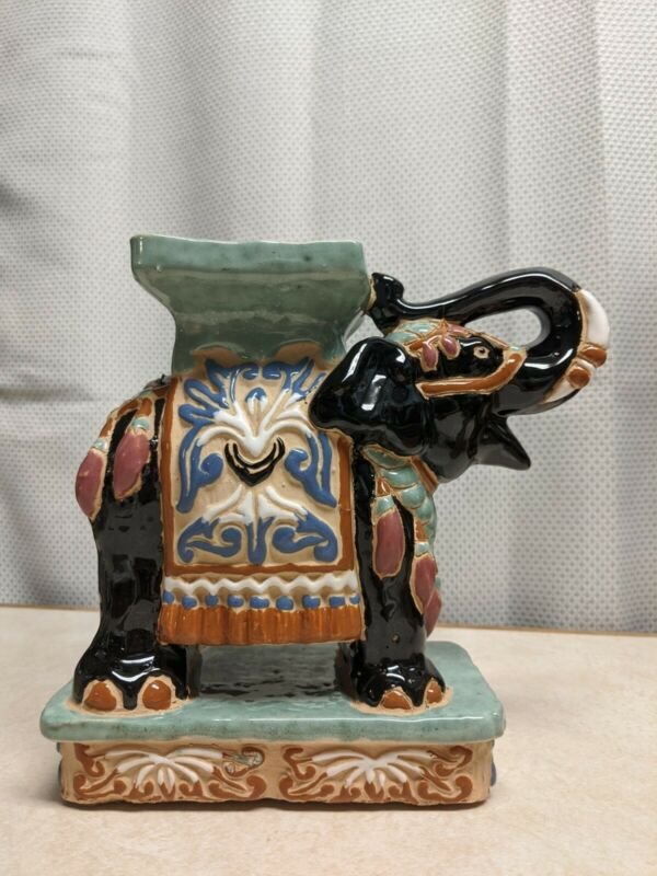 """Porcelain Ceramic Plant or Candle Stand Figurine Elephant Decoration 9"""" tall"""