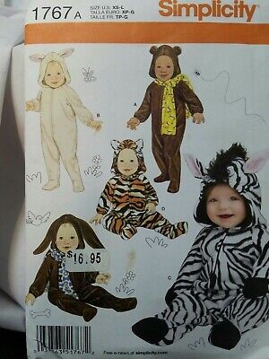 Simplicity 1767 INFANT COSTUMES for Babies 7-24 lbs Zebra Bunny Tiger Bear Mouse - Bear Costumes For Babies