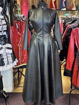 Misfitz black leather look skater coat/dress 2 way zip size 24 TV Goth Steampunk