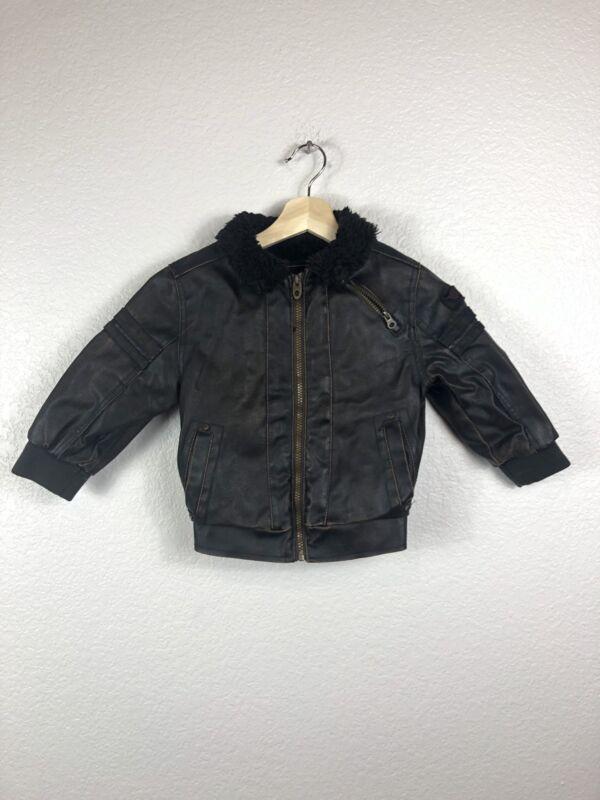 Hawke & Co Kids S 4T  Zipper & Button Up Jacket Coat Pockets Aviator Pilot Brown