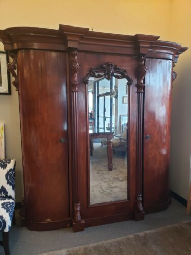 French Antique Mahogany Breakdown Armoire with Mirror, 19th Century