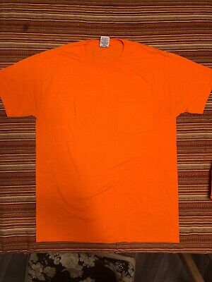 Lot of 4 Jerzees Dri Power Active T-Shirt With Left Chest Pocket Safety Orange Left Chest Pocket T-shirt