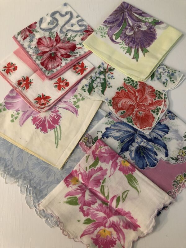 LOT OF 8  VINTAGE HANKIES with BEAUTIFUL ORCHIDS