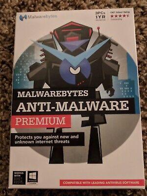 Malwarebytes Anti Malware Premium 1 Year   3 Pc   Cd Sealed