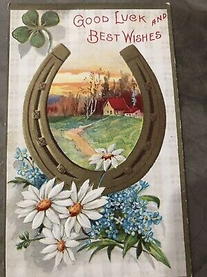 1909 Postcard Good Luck Best Wishes Conwell Gold Horseshoe Shamrock (Good Luck Best Wishes)
