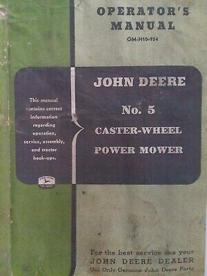 John Deere Tractor No. 5 Caster Wheel Sickle Mower Owner Maintenance Manual