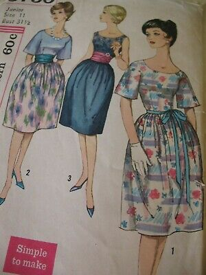 Vintage SEWING PATTERN 1960's Simplicity JR MISS DRESS & CUMMERBUND Shaped Skirt