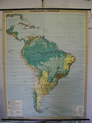 Schulwandkarte Wall Map America South America South America Economy 161x210 Map
