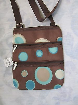 Isotoner Tote (Totes Isotoner Cross Body Bag 3 Zipper Brown With Circle Design  NWT)