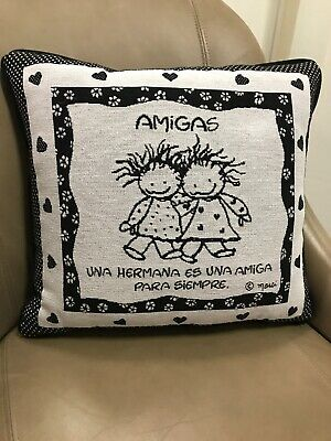(Amigas Sisters Friend Forever Spanish Marci Tapestry Throw Pillow USA MADE NEW )