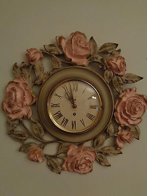 SYROCO Wood vintage 60's roses wall clock 8 day jeweled German mechanism USA