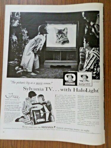 1958 Sylvania TV Television Ad  Halolight Cat Kitten Christmas Theme