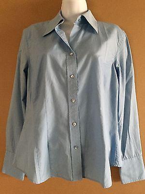Women's ANN TAYLOR Blue Long Sleeve 100% Cotton button Blouse Shirt Top sz M
