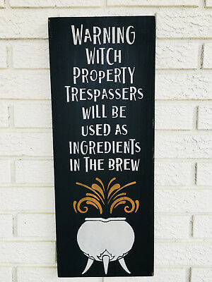 Warning Sign Halloween (Large Rustic Wood Sign -