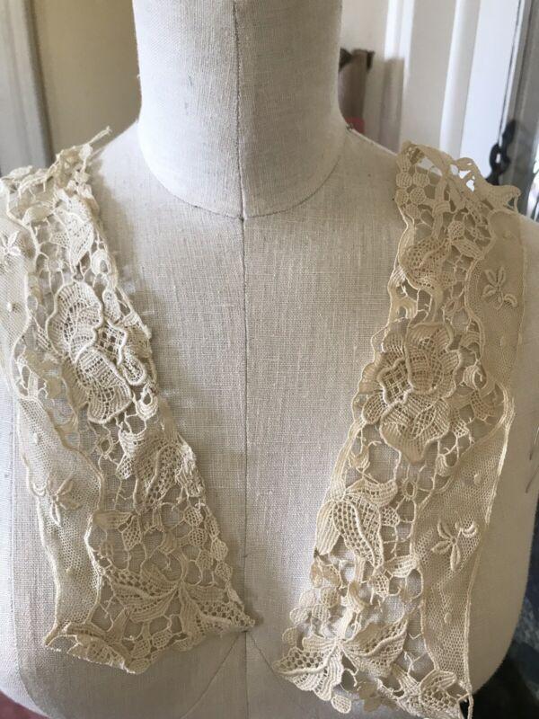 PR Fine Silk ~linen 1800's Ornate Floral French Cuff Ecru Large Needle Lace
