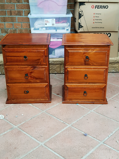 2 timber  bedside tables