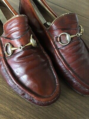 Vintage Used Gucci Loafers Men Leather Horsebit Made In Italy Size 44.5 US 11