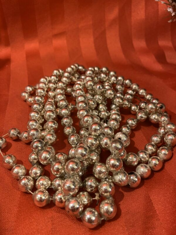 "Antique VTG Christmas Mercury Glass Silver Large 1/2"" Bead Garland 104"" HTF"