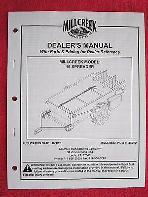 2002 Millcreek Model 15 Manure Spreader Operators-maintenance-parts Manual