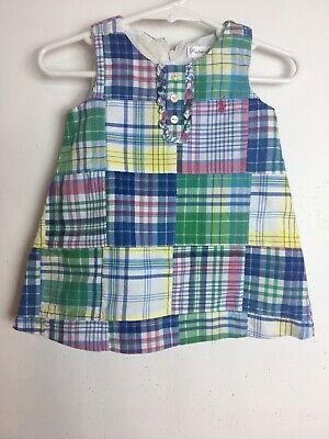 Ralph Lauren Baby Girl's Patch Dress Size 9 Months Multicolor.
