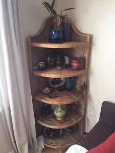 rattan wicker corner shelf