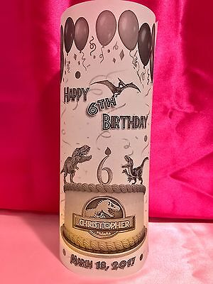 10 Personalized Dinosaurs Theme Happy Birthday Luminaries Table Centerpieces - Jurassic Park Decorations