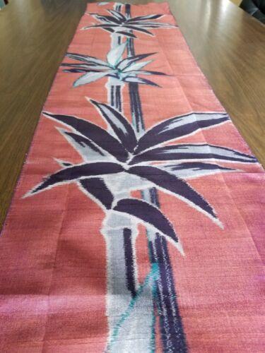 """Antique meisen woven silk Japan Hawaiian fabric quilt panel 60""""x14"""" bamboo"""