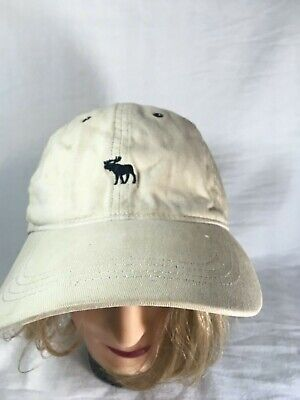 Vintage 90s Abercrombie And Fitch Beige Strapback Hat A&F Moose logo