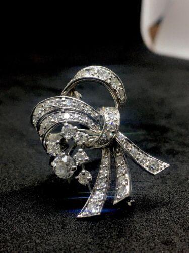 Antique Vintage Estate Platinum Diamond Brooch Pin Pendant