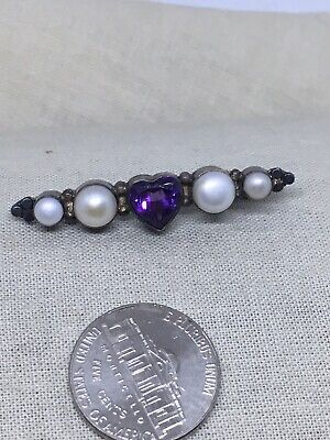 Sterling Silver Pearil Heart Amethyst Brooch Pin 28-24