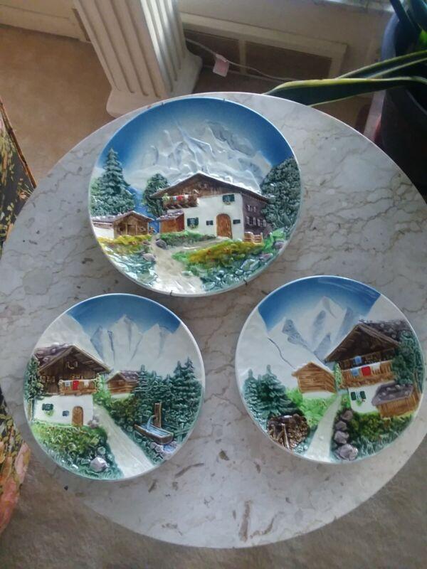 Beautiful Vtg Majolica Hand Painted Decorative Wall Plates 3832 W. Germany Set 3