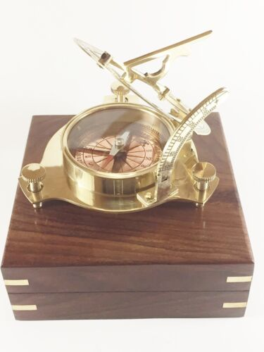 """Brass 4"""" Copper dial Sundial with RF Poem in  Wooden Box USA Seller!!!"""