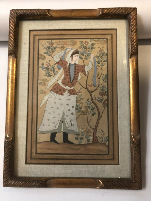 Antique  Qajar Safavid Style Miniature Painting