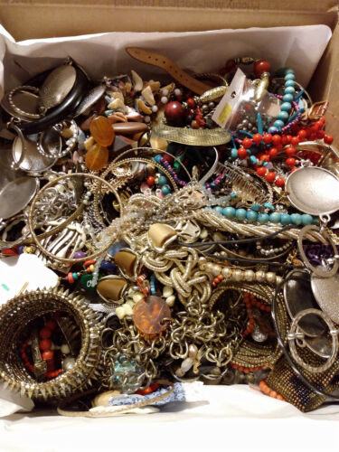 Vintage to Modern Jewelry Craft/Tangled LFR box Estate Find 17 lbs