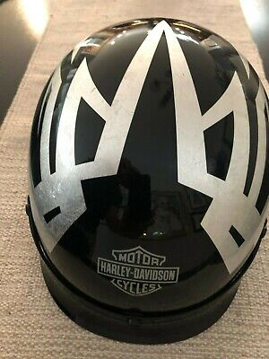 Genuine Harley Davidson Half Helmet, L, black /silver graphics, DOT w/100yr bag