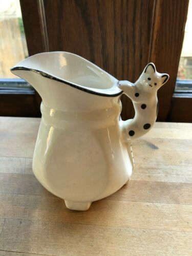 Vintage Ceramic Creamer with Cat Handle