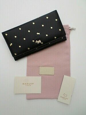 RADLEY - DITSY DOG FOIL - BLACK LEATHER LGE TRIFOLD MATINEE PURSE WALLET RRP £79