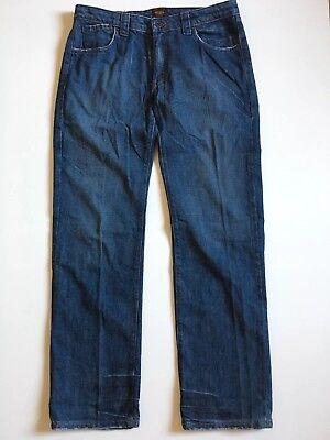 (Von Dutch USA Mens 32x32 Blue Straight Leg Denim Jeans Zip Up)