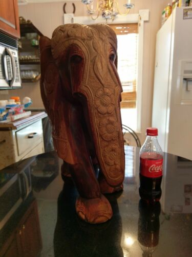 Huge Gorgeous Vintage Carved Wood Elephant Statue