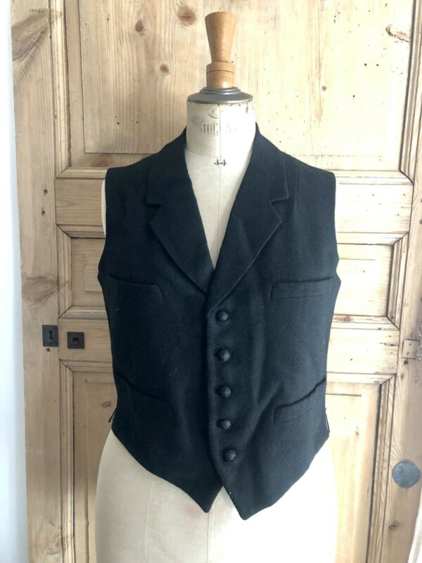 Antique French WOOL satin WAISTCOAT c1900
